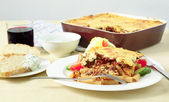 Pastitsio Greek taverna meal — Stock Photo