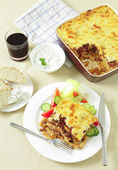 Pastitsio taverna meal from above — Stock Photo