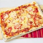 Whole Sicilian pizza high angle — Stock Photo