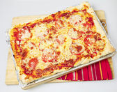 Whole Sicilian pizza high angle — Stock Photo