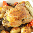 Chicken and roast vegetables high angle — Stock Photo