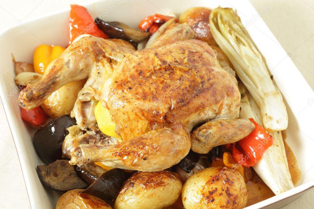 ... oven roasted vegetables, including potatoes, capsicum, endive