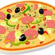 Royalty-Free Stock Vector Image: Pizza isolated illustration vector