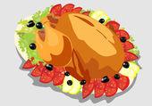 Illustration of roasted holiday turkey on platter with garnish — Stock Vector