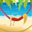 Pretty girl laying in a hammock on a sky background with sun and sea. — Stock Vector