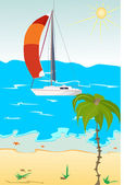 The yacht in red sails at the sea in the background. Palm tree in the foreg — Stockvektor