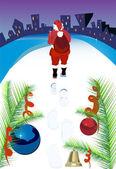 Noël père noël marchant avec cadeaux gros sac — Vecteur