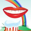 White teeth and healthy smile on the background of the rainbow — ベクター素材ストック