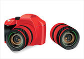 Red dslr camera and lens on a white background, vector — Stock Vector