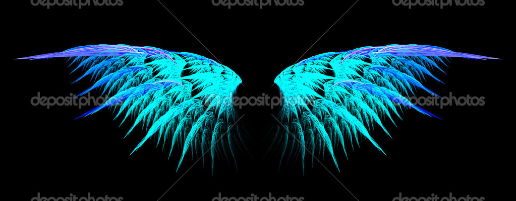 Blue angel wings with halo