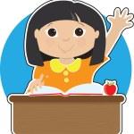 小女孩在学校亚洲 — 图库照片