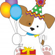 Cute Puppy Birthday - Stock Vector
