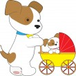 Cute bay Baby Carriage — Stock Vector