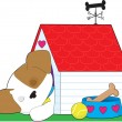 Cute Puppy Dog House — Stock Vector