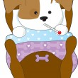 Royalty-Free Stock Vector Image: Cute Puppy Sick