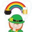 Leprechaun Rainbow Beer — Stock Vector