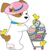 милая собака пасхальные яйца — Cтоковый вектор