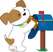 Correo lindo cachorro — Vector de stock