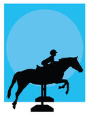 Horse Jumping Silhouette — Stock Vector