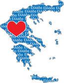 Me encanta el mapa de grecia — Vector de stock