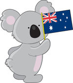 Koala Australian Flag — Stock Vector