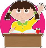 Little Girl at School — Stock Vector