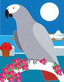 En papegoja i paradiset — Stockvektor