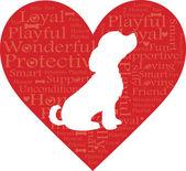 Word Heart Dog — Stock Vector