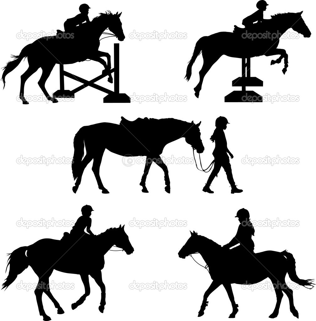 A group of five silhouettes featuring  horses and children — Stock Vector #7126331