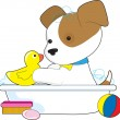Stock Vector: Cute Puppy Bath