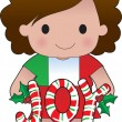 Italian Christmas Girl — Stock Vector