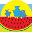 Watermelon Blue Birds — Stock Vector