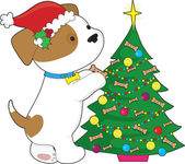 Cute Puppy with Santa Hat and Tree — Stock Vector