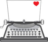 Old Typewriter Heart — Stock Vector