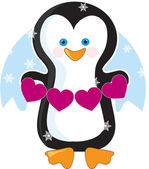 Penguin Heart — Vector de stock