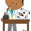 Black Vet and Pets — Stock Vector