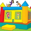Bounce Castle Kids - Stock Vector