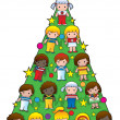 Country Children Christmas Tree - Stock Vector