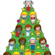 Country Children Christmas Tree — Stock Vector