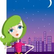Stock Vector: City Girl at Night
