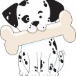 Dalmatian with Bone - Stock Vector