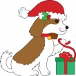Dog Christmas Present - Stock Vector