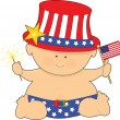 Baby Fourth of July - Stok Vektör