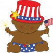 Stock Vector: Baby Fourth of July Black