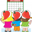 Kids Christmas Calendar - Stock Vector