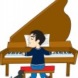 Royalty-Free Stock Векторное изображение: Piano Player and Dog