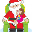 Santa and Child — Stock Vector