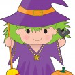 Witch Kid Isolated — Stock Vector