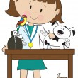 Royalty-Free Stock Vector Image: Woman Vet and Pets