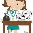 Woman Vet and Pets — Stock Vector
